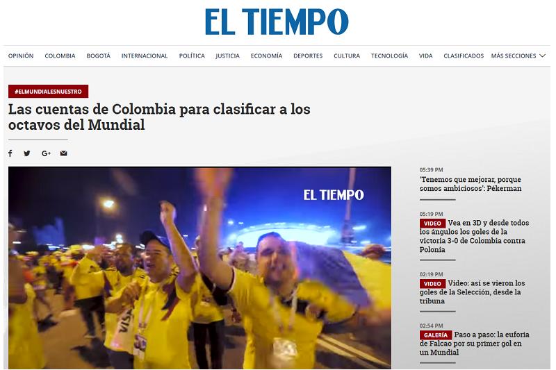 哥倫比亞第一大報《時報》(EL TIEMPO)下了16強還有希望的標題。(截圖自《時報》網站)