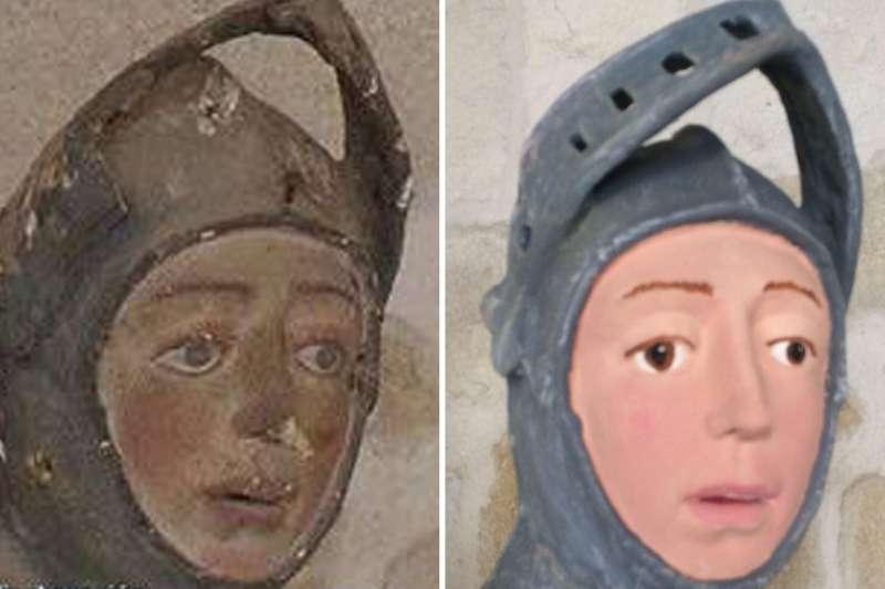 西班牙埃斯特利亞鎮,原本古樸的聖喬治像(左)經過「修復」後,竟成了擁有粉紅色臉部肌膚的卡通人物(截自YouTube)
