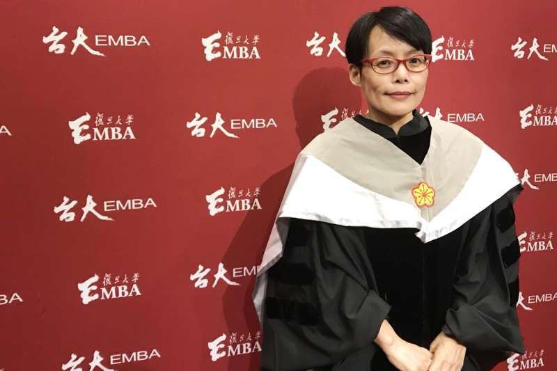 謝明慧強調,未來台大EMBA將繼續領航「社會創新」,不只創造台灣價值,還要實踐普世價值。(台大EMBA提供)