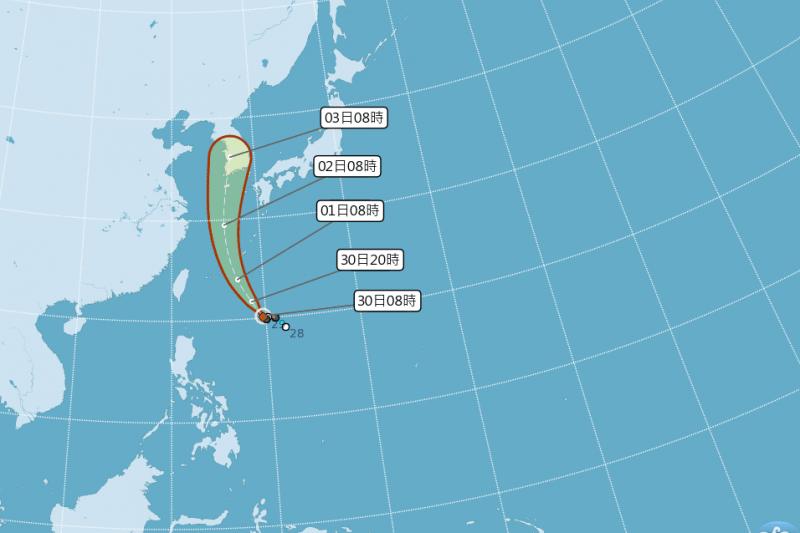 第7號颱風巴比侖(國際命名:PRAPIROON),清晨2時位於台北東南東方1020公里的海面上,以西北轉偏北方向朝琉球群島附近移動。(取自中央氣象局)