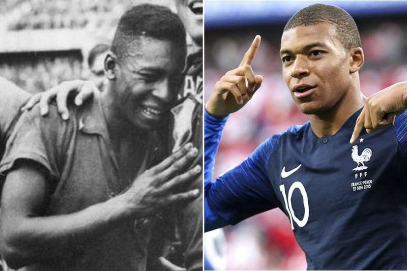 法國姆巴佩(右)繼球王比利於1958年後,再度有未滿20歲小將在世足單場進兩球壯舉。(美聯社)