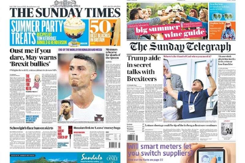 英國《周日泰晤士報》(左)與《周日電訊報》都在頭版用照片來傳達阿根廷與葡萄牙雙雙出局的消息,《周日電訊報》更調侃馬拉度納上帝之手在哪裡?(圖自《周日泰晤士報》與《周日電訊報》網站)