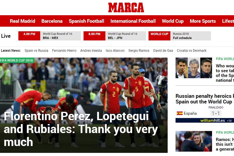 西班牙世足止於16強,《馬卡報》酸要謝謝3個人。(截圖自《馬卡報》網站)