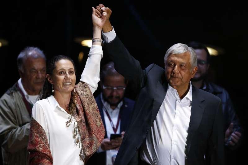 2018墨西哥大選:墨西哥準總統羅培茲.歐布拉多爾(左)與首位民選首都女市長薛恩鮑姆(AP)