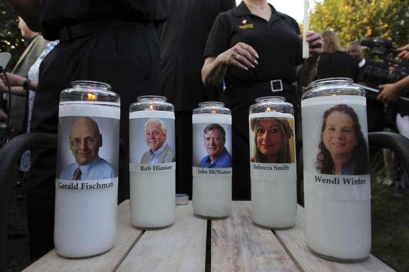 2018年6月28日,美國馬里蘭州《首府新聞報》(The Capital Gazette)編輯部遭槍手血洗,5位新聞工作者遇難(AP)