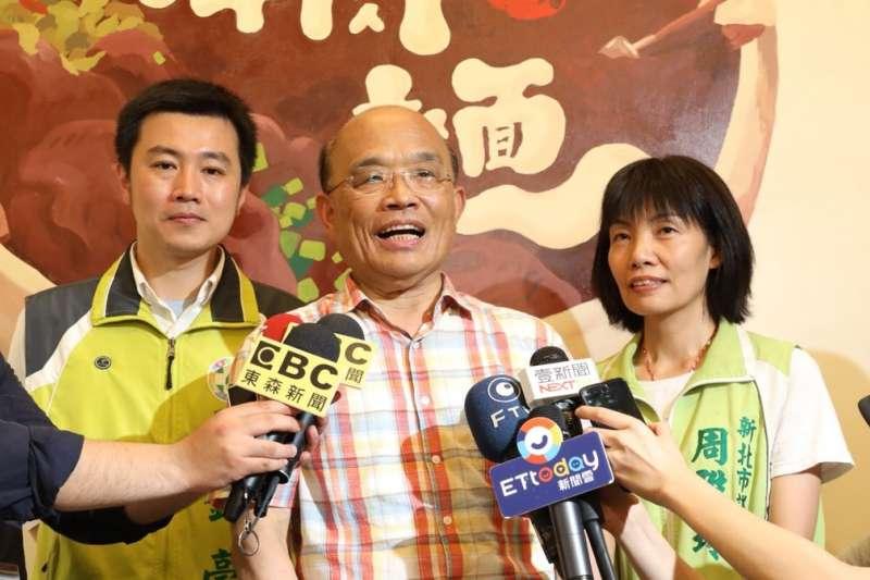 民進黨新北市長參選人蘇貞昌受訪。(蘇貞昌辦公室提供)