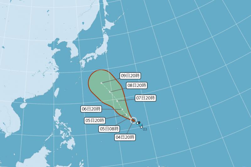 中央氣象局昨(4)日晚間發布颱風消息,今年編號第8號的輕度颱風瑪莉亞 生成,以每小時14公里速度,向西北進行。(取自中央氣象局網站)