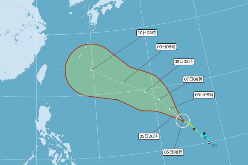 第8號颱風瑪莉亞(MARIA)發展迅速,最快今天可形成中颱。(取自中央氣象局)