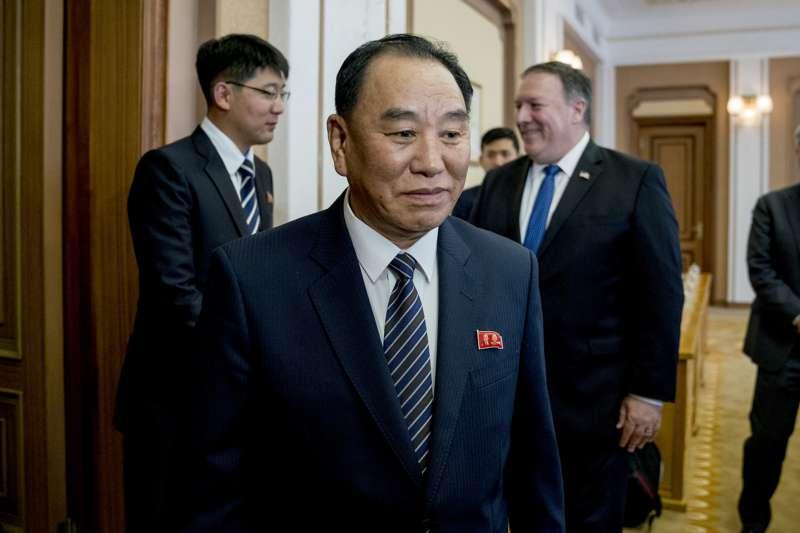 2018年7月,朝鮮勞動黨中央委員會副委員長金英哲與美國國務卿龐畢歐在平壤進行會談(AP)