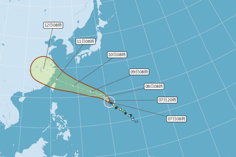 颱風瑪莉亞結構,預計將在下周三(11日)影響台灣。(圖取自中央氣象局)