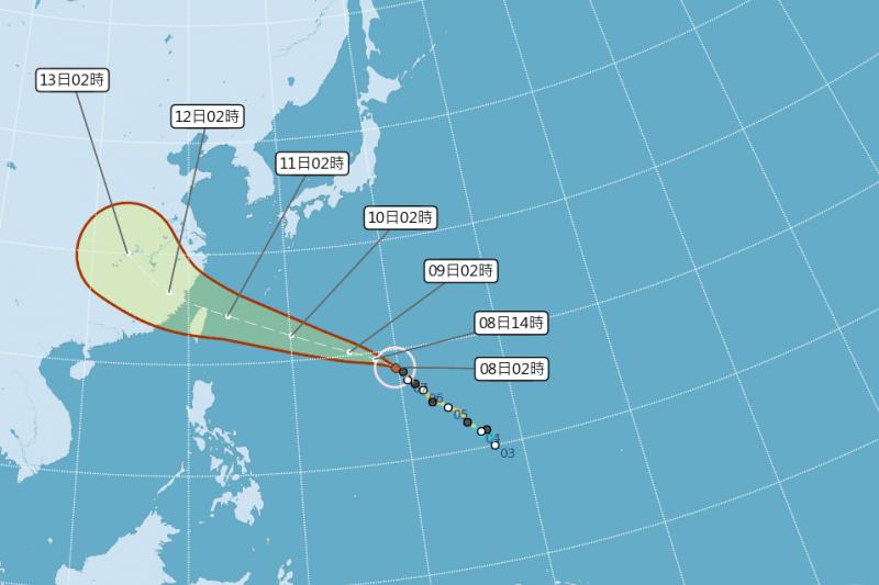 中央氣象局8日最新天氣預報,颱風瑪莉亞朝台灣北部近海移動,如果路徑不變,最快9日晚發布海上颱風警報。(取自中央氣象局網頁)