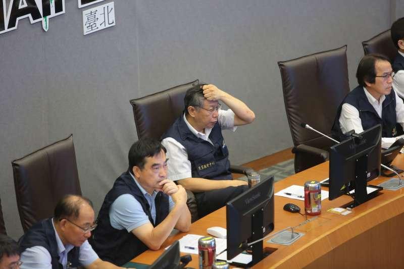 20180710-台北市長柯文哲10日至台北市災害應變中心視察。(顏麟宇攝)