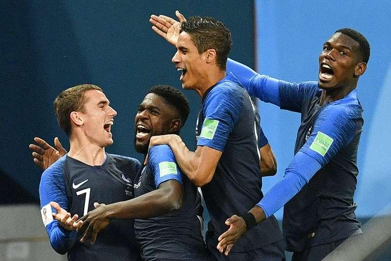法國世足開踢前,奪冠機率只有8%居32隊裡第4高,現在離冠軍只剩下最後一哩路了。(美聯社)
