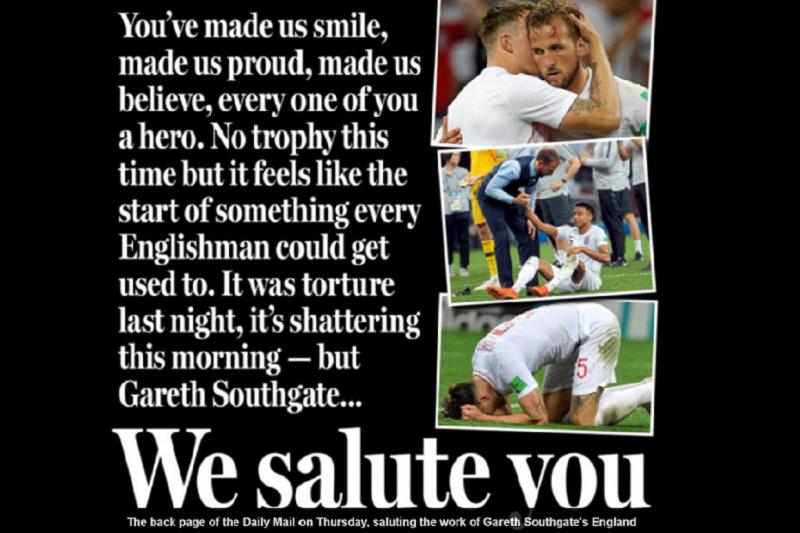 英國《每日郵報》用背版向英格蘭球員與教練致敬。(圖取自《每日郵報》網站)