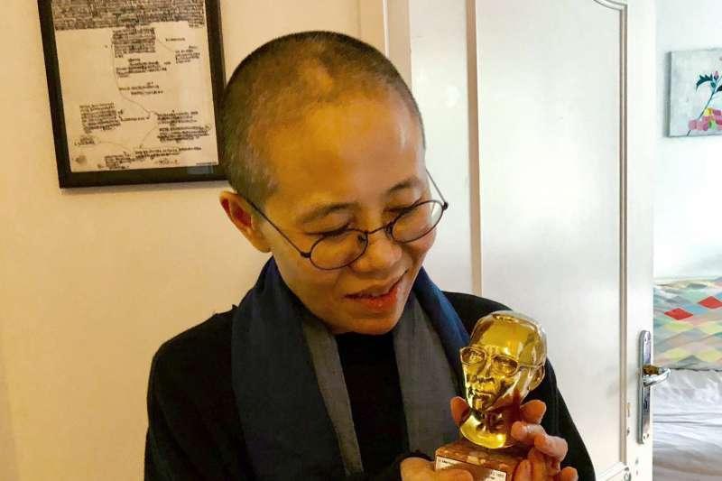 2018年7月13日,劉曉波遺孀劉霞在德國(AP)