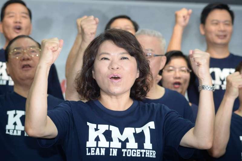20180714-國民黨22縣市長候選人第一次合體造勢記者會,嘉義市長參選人黃敏惠。(甘岱民攝)