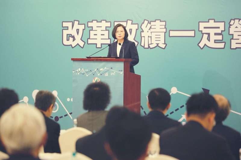 民進黨今(15)日下午將在圓山飯店全代會,圖為兼任黨主席的總統蔡英文。(民進黨中央提供)