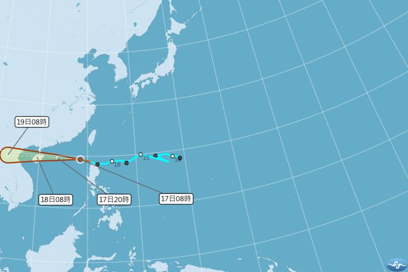 第9號颱風「山神」17日上午8時生成,中央氣象局預估其未來將持續朝海南島前進,對台灣沒有直接影響。圖為山神颱風路徑潛勢預報。(取自中央氣象局網站)