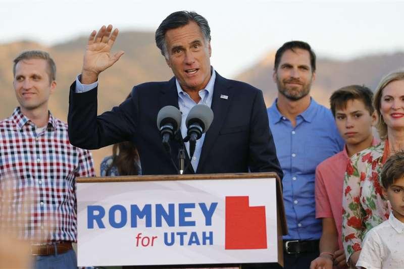 2012年共和黨總統候選人羅姆尼獲得黨內提名,角逐猶他州聯邦參議員席次(AP)