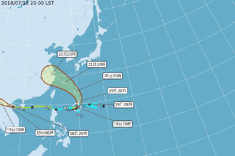 安比颱風路徑潛勢預測圖。(取自中央氣象局)