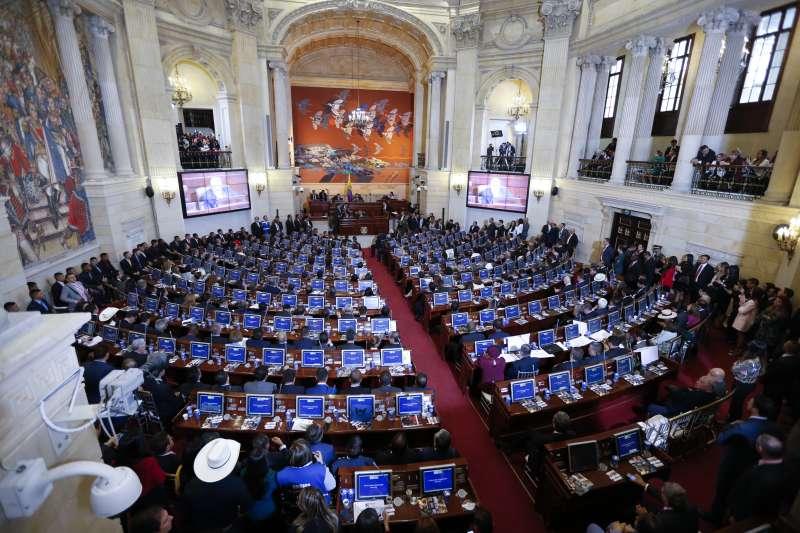 哥倫比亞國會。哥倫比亞前叛軍組織轉型為左翼政黨,20日正式進入國會。(美聯社)