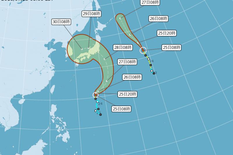 20180725-中央氣象局25日表示,今年第12號颱風「雲雀」(左)已經形成,但不直接影響台灣天氣。(取自中央氣象局)