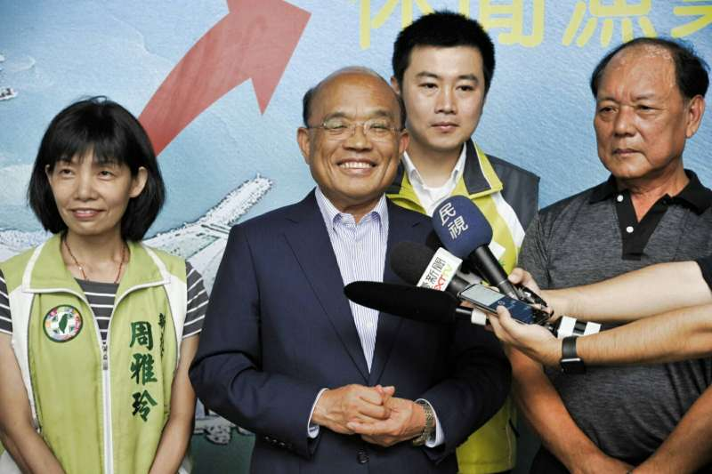 民進黨新北市長參選人蘇貞昌上午出席「金山區漁會」。(蘇貞昌辦公室提供)