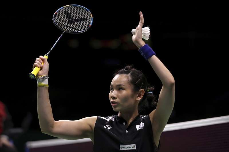 戴資穎在雅加達亞運女單金牌戰,以直落二的成績擊敗印度好手辛度,拿下中華羽球代表隊史上首面金牌。 (美聯社)