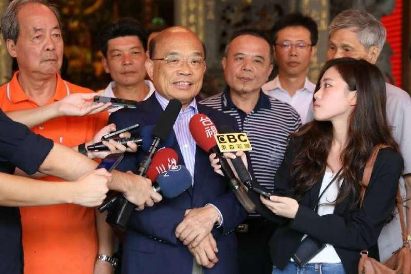 民進黨新北市長參選人蘇貞昌上午拜訪新北市「貢寮仁和宮」。(蘇貞昌辦公室提供)