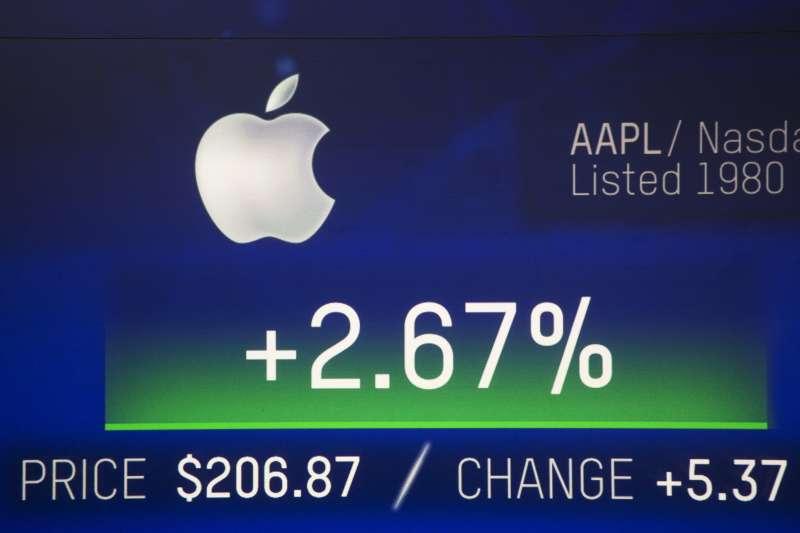 2018年8月2日,蘋果站上美國企業史「市值1兆美元」王座。(AP)