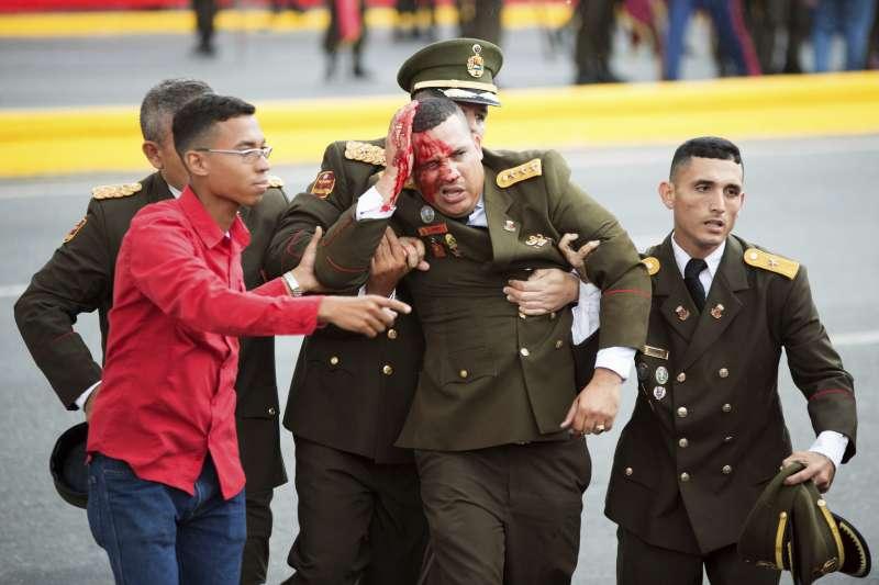 委內瑞拉國民警衛隊成立81周年紀念活動上發生爆炸,現場至少7人受傷。(美聯社)