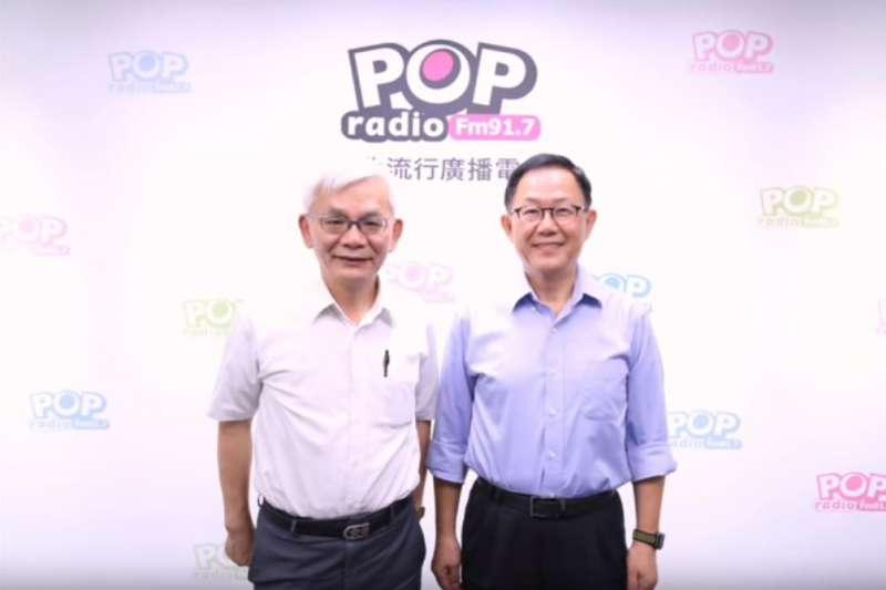 國民黨台北市長參選人丁守中(右)7日上午接受POP Radio廣播節目《POP撞新聞》專訪時表示,自己過去即和實際上是中國共產主義青年團的「全國青年聯合會」交往密切,並表示,若未來若當選台北市長,絕不容許子弟上戰場為「台獨」打仗。(取自POP Radio YouTube)