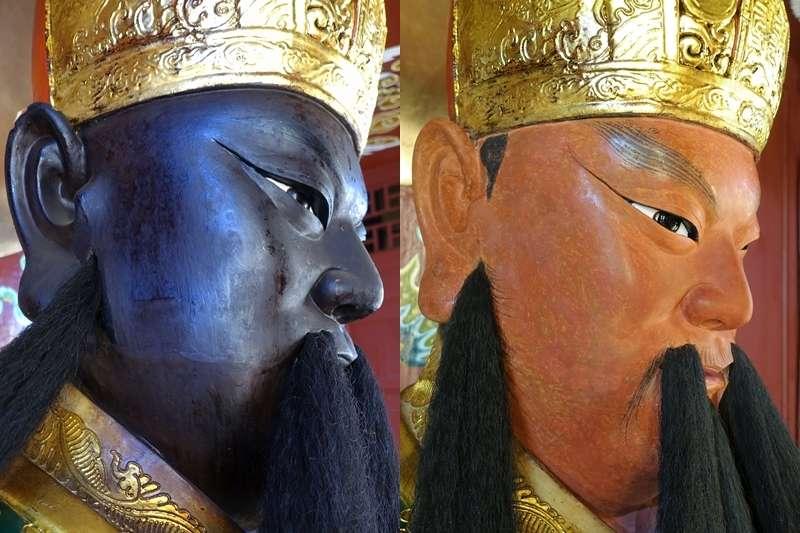 關公神像經修復後除去黑漆,得以呈現最原始的色澤。(圖/蔡舜任提供)