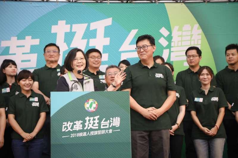 民進黨黨主席蔡英文為台北市長參選人姚文智造勢。(總統府)