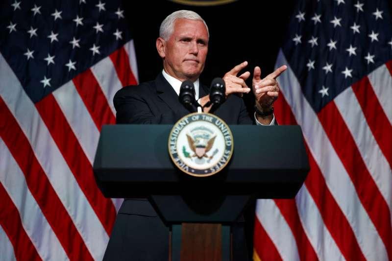 美國副總統彭斯嚴厲批中。(美聯社)