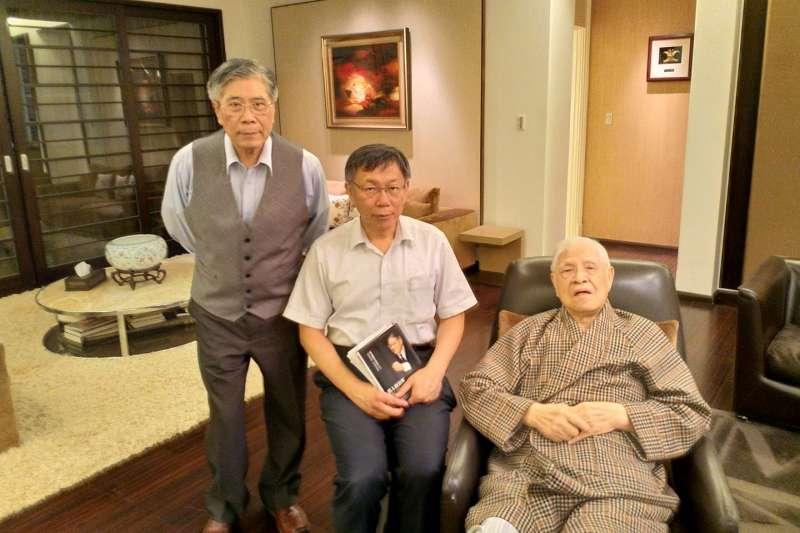 在政治評論家詹錫奎牽線下,台北市長柯文哲於9日拜訪前總統李登輝。(取自詹錫奎臉書)