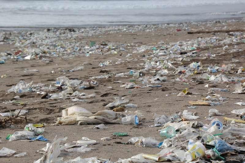 海邊隨處可見塑膠袋(截自網路/Public Domain)
