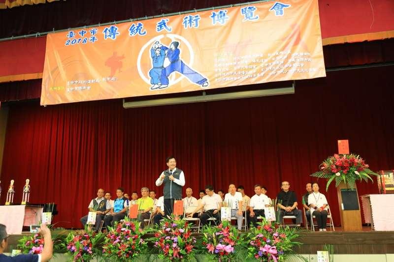 20180812-台中市長林佳龍12日出席台中2018傳統武術博覽會時表示,明年一定會有運動會,最好是恢復東亞青年運動會,若沒有,仍將透過全國的力量,邀請國際青年朋友來台灣進行一場國際運動會。(取自台中市政府)