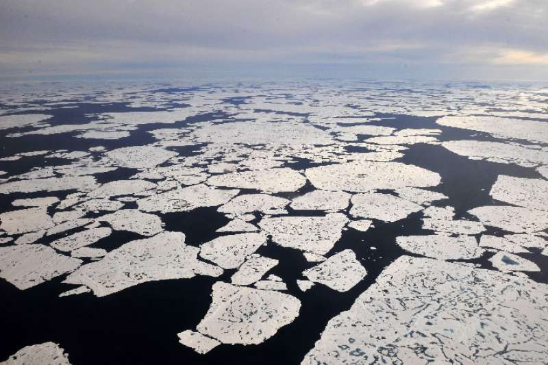 2010年9月3日,美國國家航空航天局衛星拍攝的北極海冰狀況圖。(新華社)