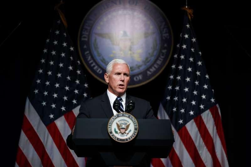 20018年8月9日,美國副總統彭斯(Mike Pence)前往五角大廈(Pentagon)發表「太空軍」國防政策演說(AP)