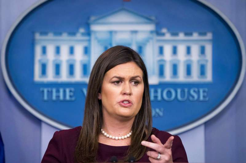 2018年8月14日,美國白宮發言人桑德思(Sarah Huckabee Sanders )。(AP)