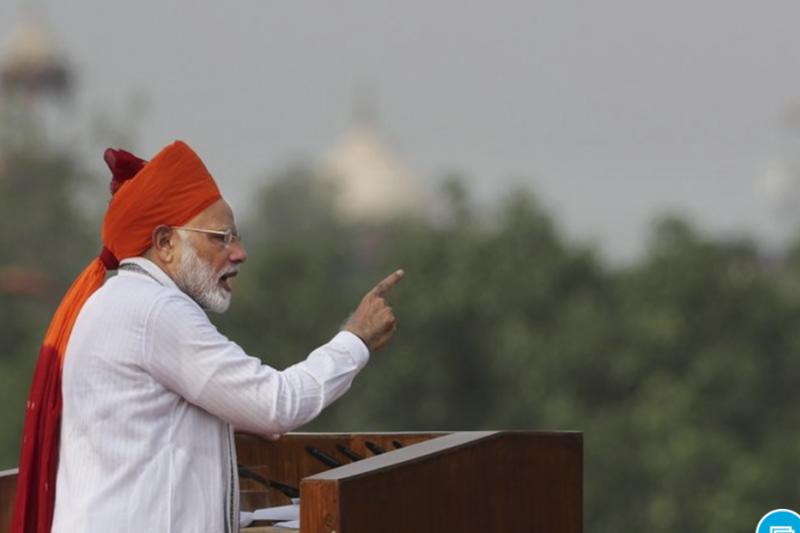 印度總理莫迪於15日獨立紀念日發表演說(截自AP)