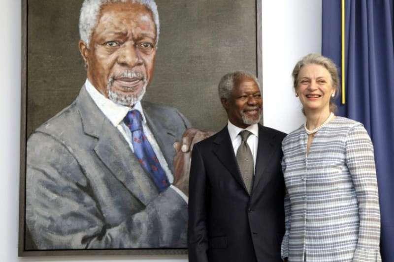 聯合國前秘書長安南與瑞典籍妻子娜內(Nane Annan)(美聯社)