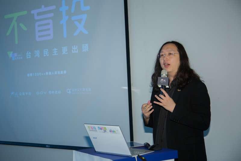 20180818-政務委員唐鳳今(18)日出席VOTE台灣投票指南網站啟動記者會。(簡必丞攝)