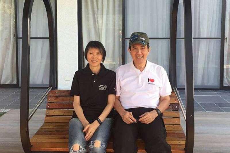 前總統馬英九與妻子周美青結褵41週年,馬昨在臉書和IG貼出同遊台東的照片。(取自馬英九臉書)