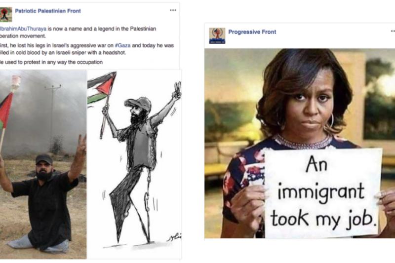 臉書的報告中刊出被關閉帳號所發表的政治性資訊。(來源:臉書)