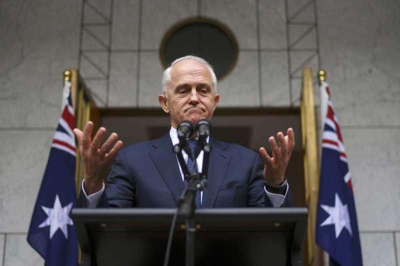 2018年8月23日,遭逼宮的澳洲總理騰博召開記者會。(AP)
