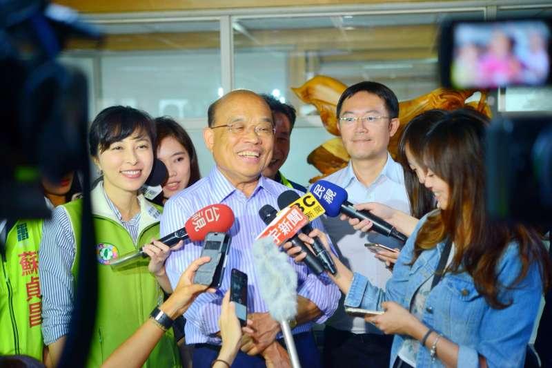 民進黨籍新北市長參選人蘇貞昌24日上午拜會蘆洲農會。(蘇貞昌辦公室提供)