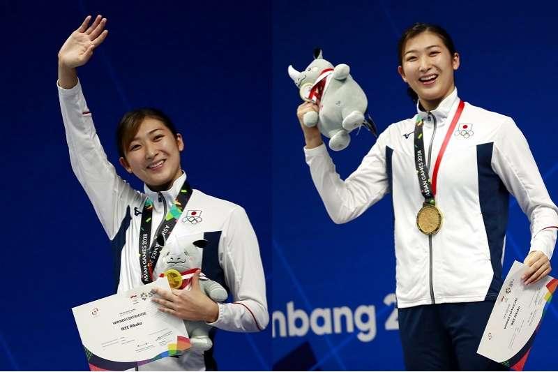 日本池江璃花子(Ikee Rikako)在亞運泳池奪5金。(美聯社)