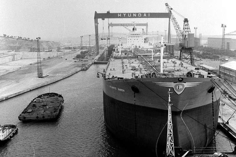 1976年現代重工蔚山造船廠。(대한민국 정부@wikipedia)